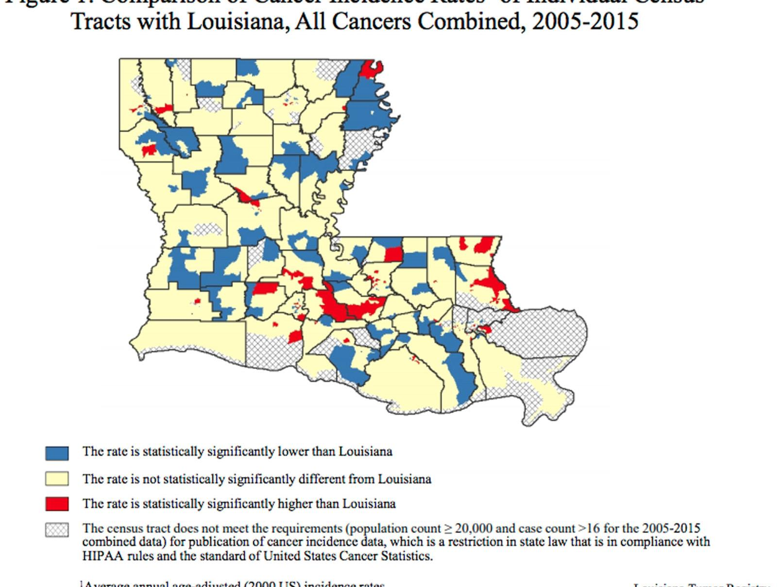 alley louisiana map Report On Louisiana Cancer Rates Finds Results Are Mixed On Link alley louisiana map