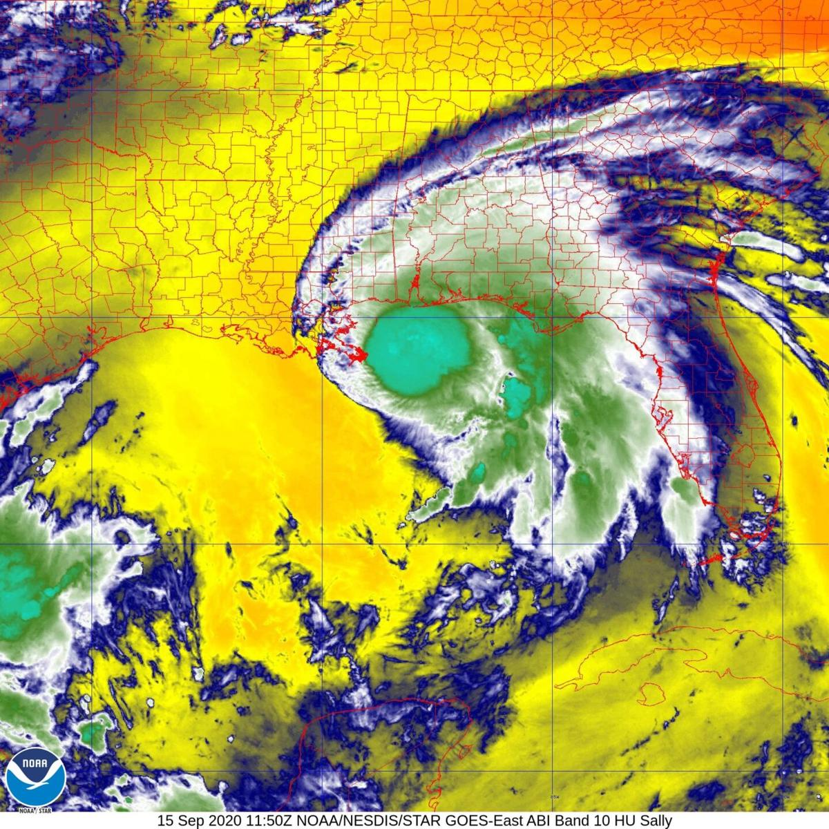 Hurricane Sally stalled off Alabama-Florida coast