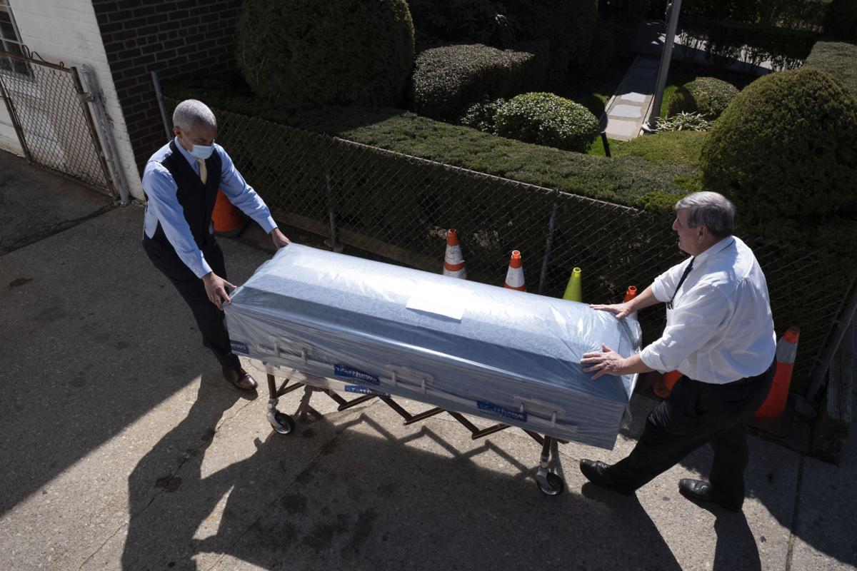 Coronavirus file photo stock of casket at funeral home