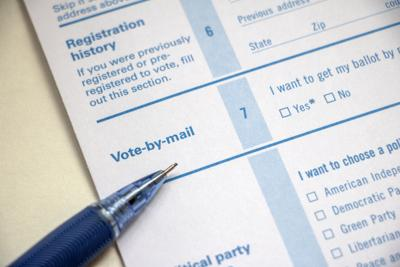 Vote by Mail form with pencil