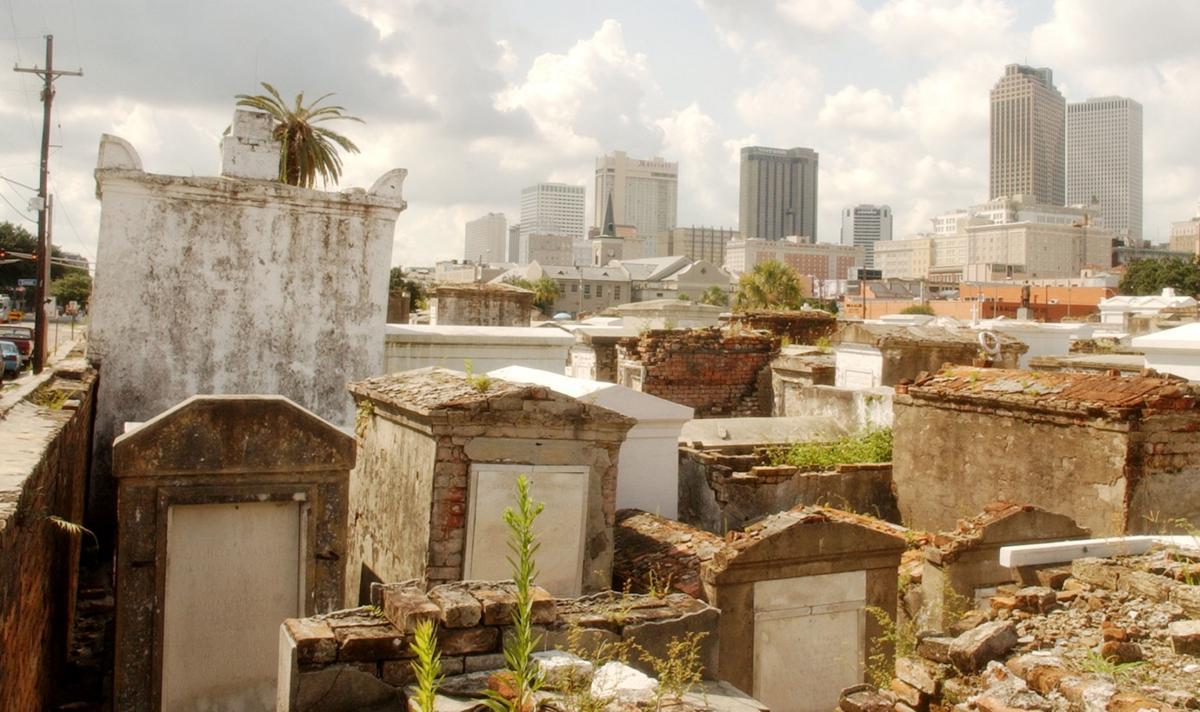 A future occupant of St  Louis Cemetery No  1 builds his final 'home