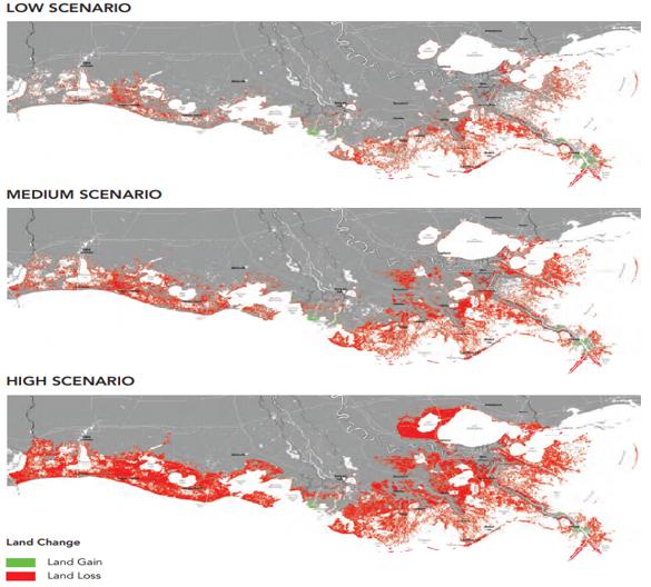 Low, medium, high sea level and land loss