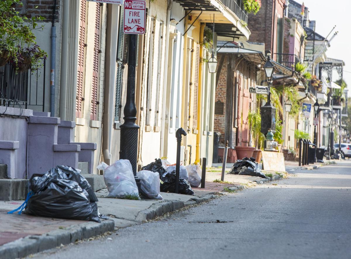 Hurricane Ida garbage on French Quarter sidewalk