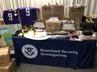 Homeland Security Investigations display of seized counterfeit goods