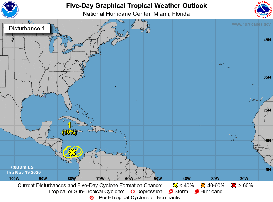 Disturbance in Caribbean 7am Thursday