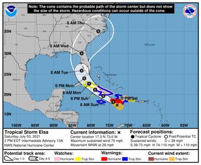 Tropical Storm Elsa July 3 2pm update