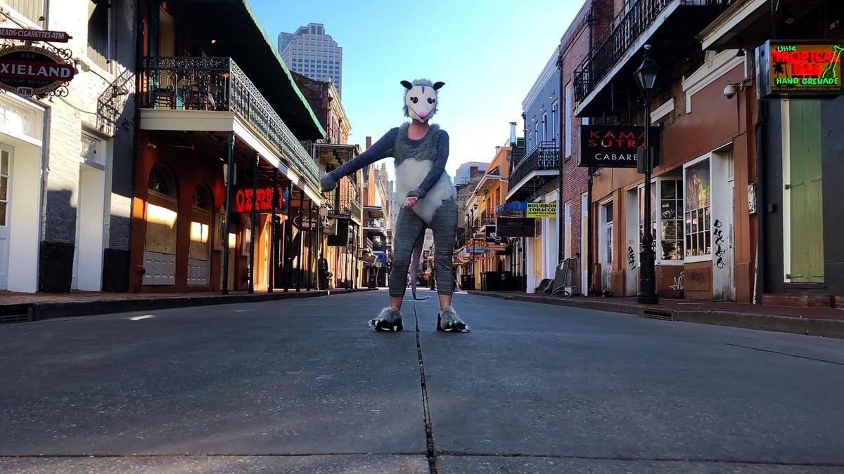 The Flossin' Possum, also known as Lady Walker, appears on Bourbon Street