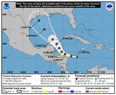 Tropical Depression 14 Forms In Caribbean Expected To Head Into Gulf See Track Hurricane Center Nola Com
