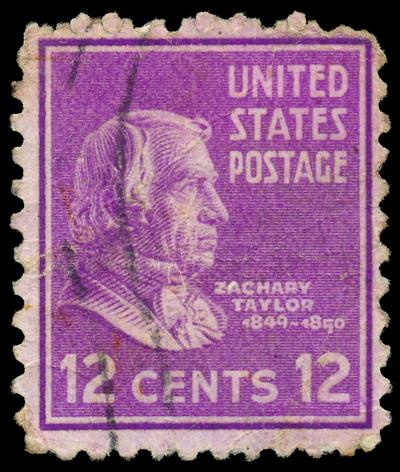 Stamp printed in USA, shows a portrait of Zachary Taylor