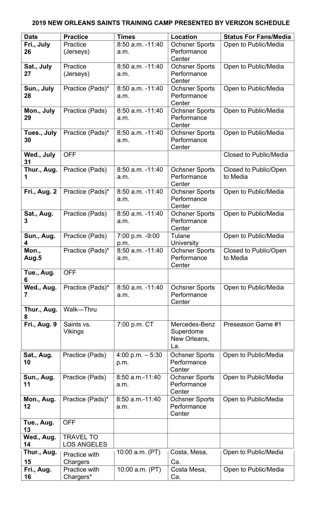 Saints training camp schedule 2019