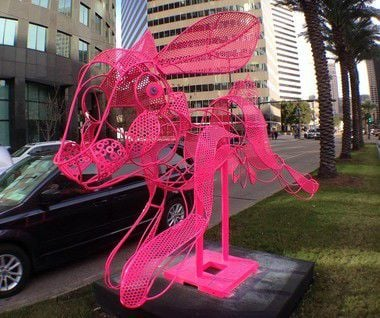 Preposterous pink bunny sculpture appears near Superdome