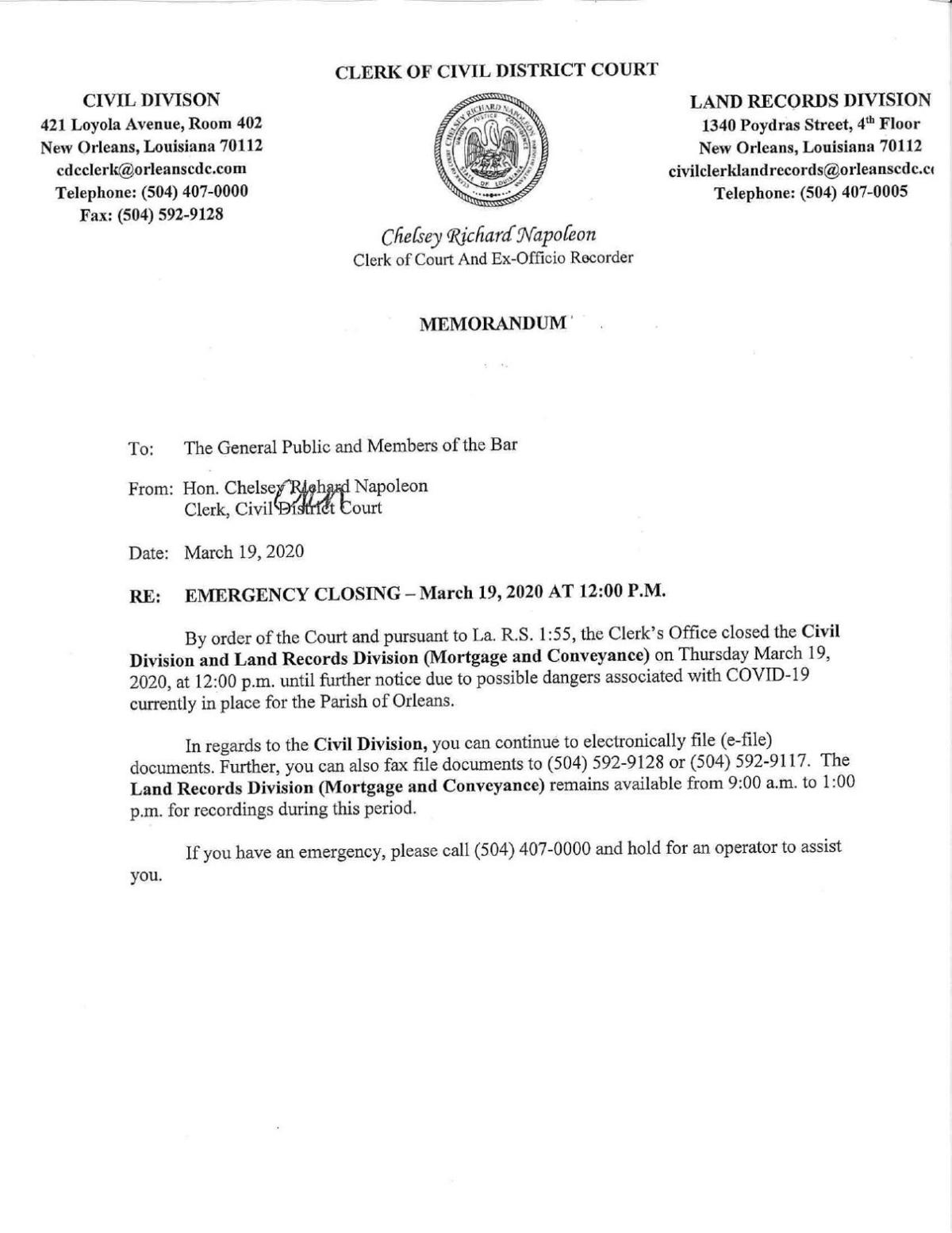 Civil Court closure memo
