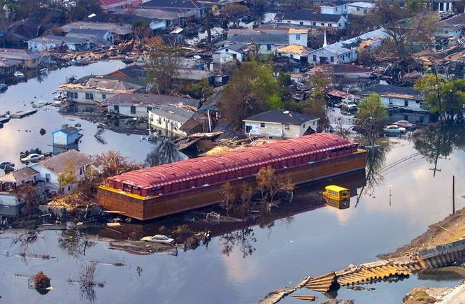 Hurricane Katrina barge in Lower 9th Ward
