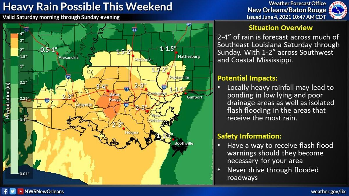 Heavy rainfall expected this weekend