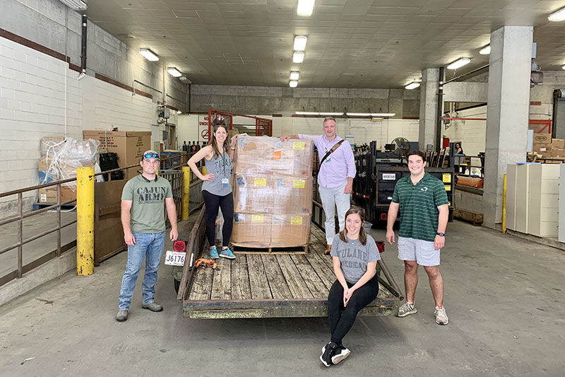Tulane University medical students get equipment from the Cajun Army