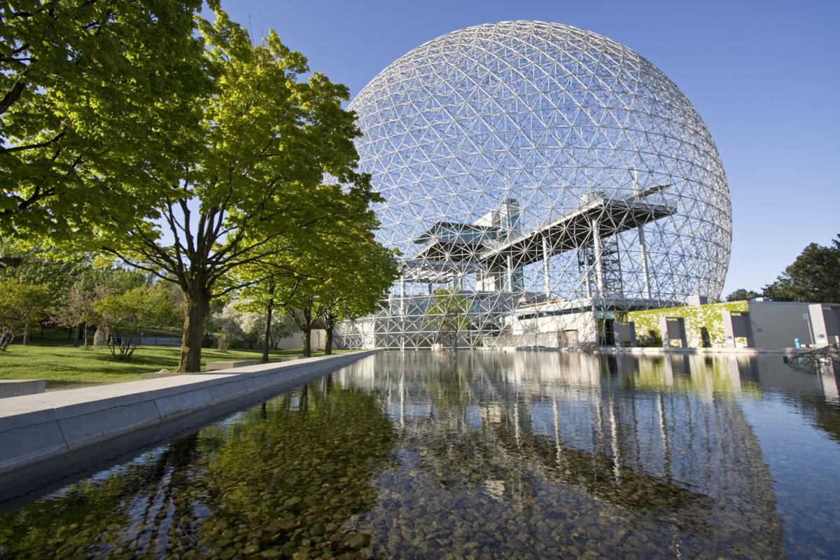Biosphere of Montreal and mirror reflections