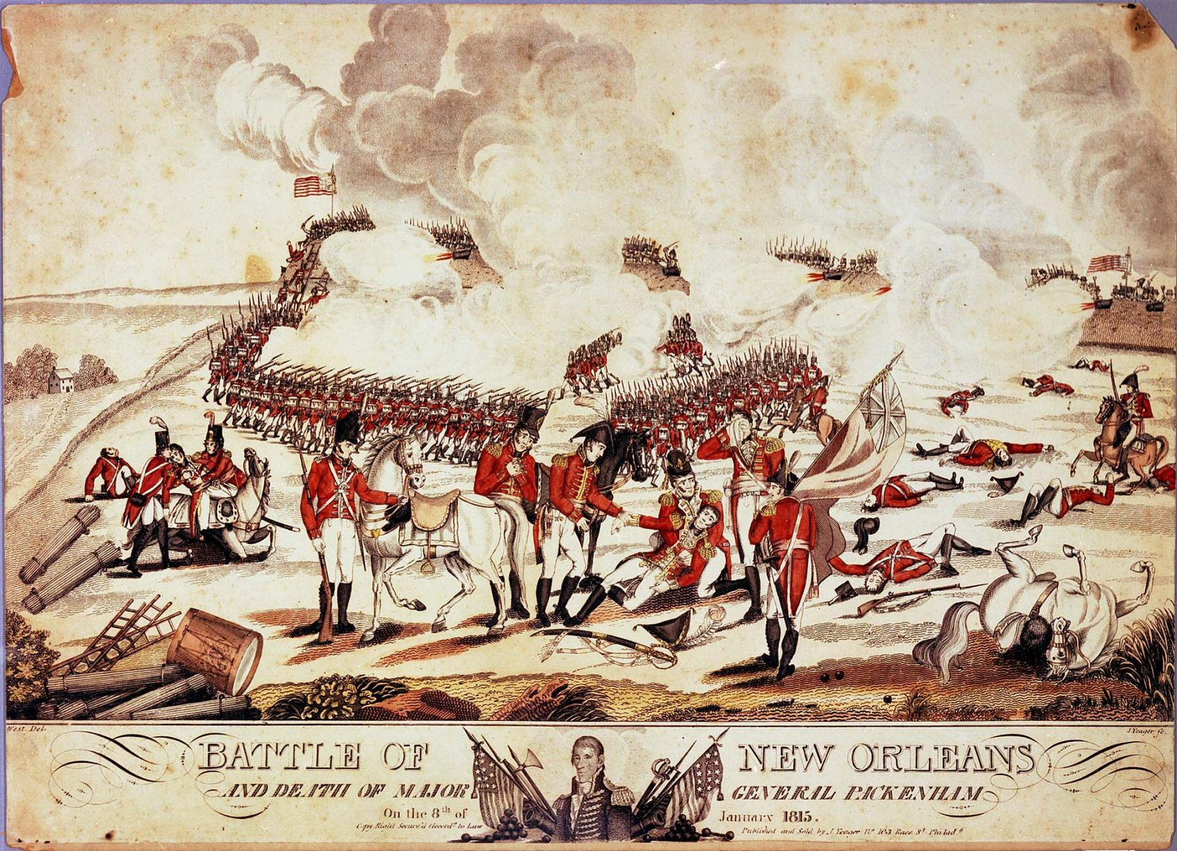 BATTLE OF NEW ORLEANS PAINTING US BRITISH WAR OF 1812 ART REAL CANVASPRINT
