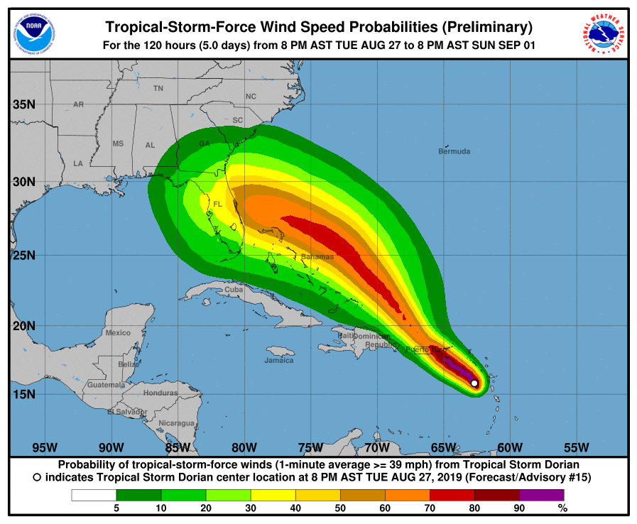 Tropical Storm force wind speed probabilities, Dorian Aug. 27, 2019