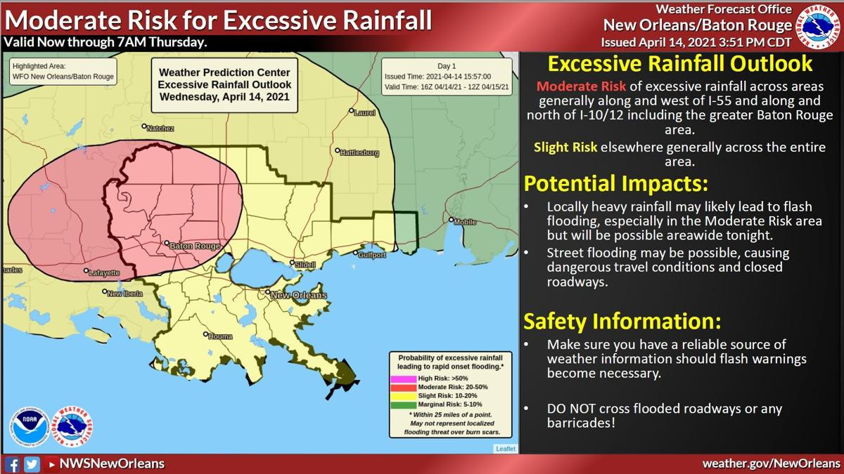Moderate to slight risk of excessive rainfall
