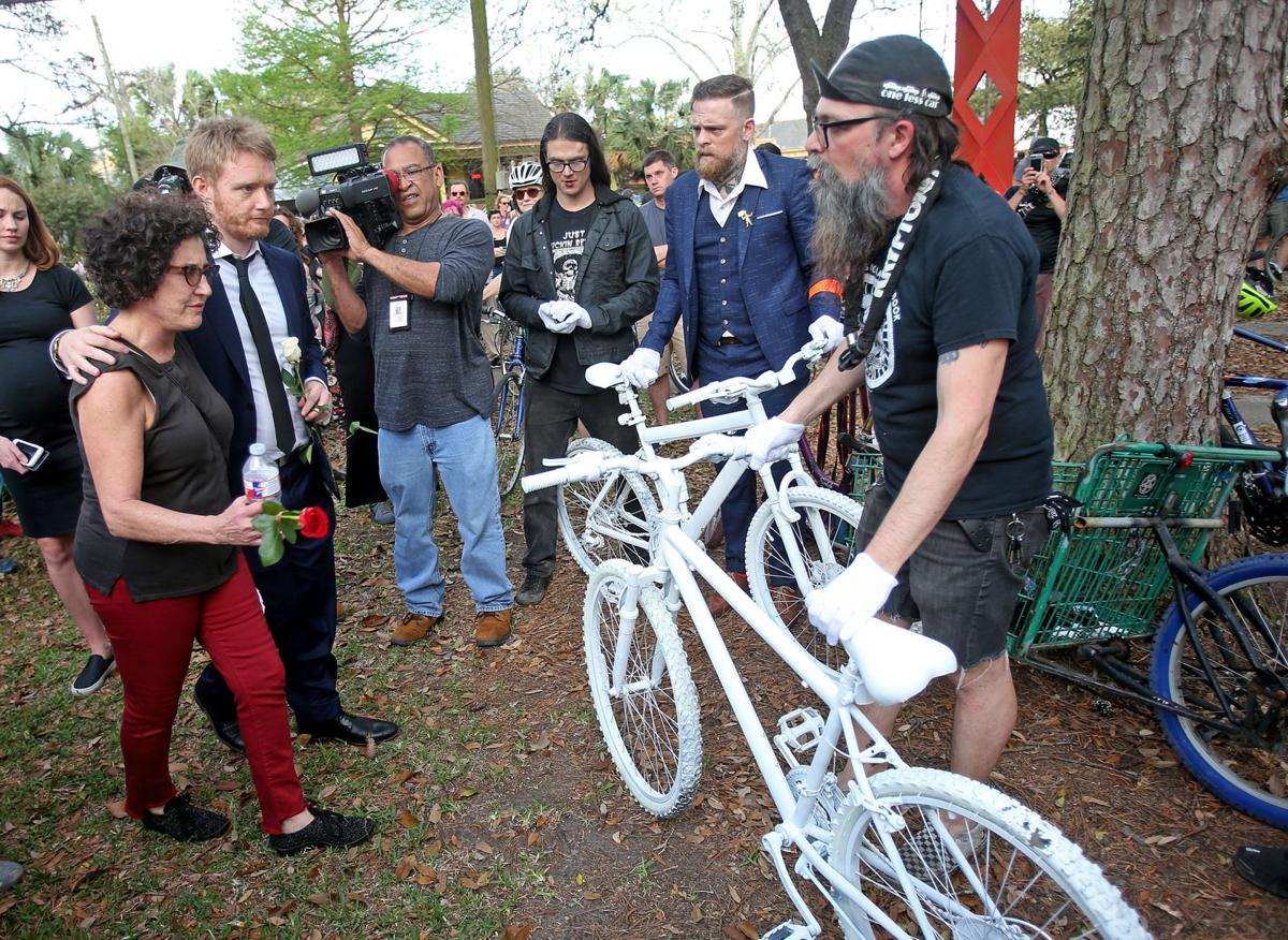 Memorial ride and ghost bike installation for David Hynes and Sharree Walls