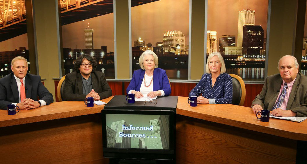WYES moderator Marcia Kavanaugh (center) during a taping of 'Informed Sources' news roundtable show