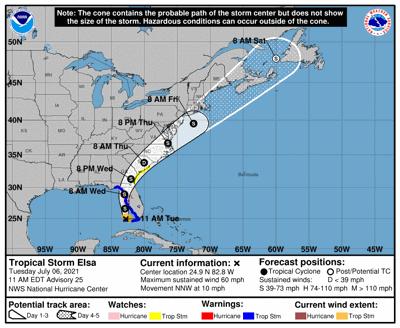 Tropical Storm Elsa track 10am July 6