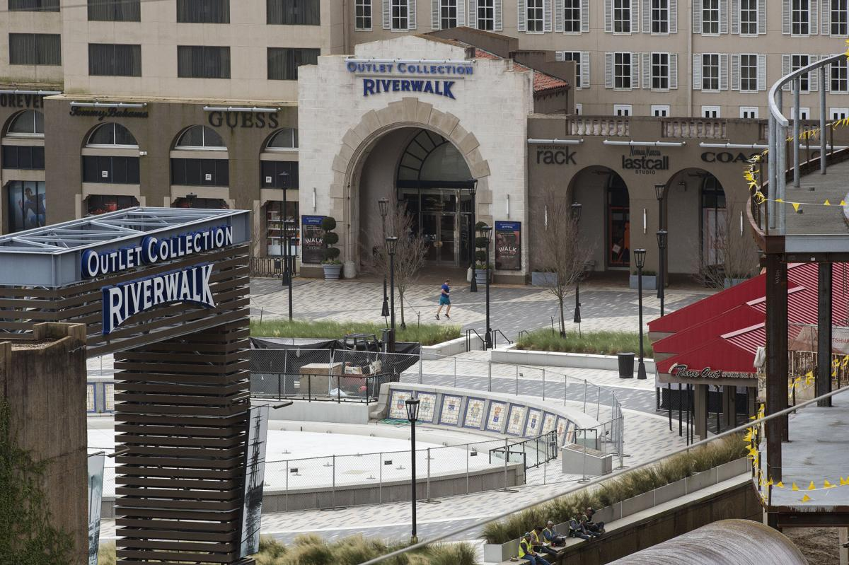 Work on Spanish Plaza renovation remains delayed by high river