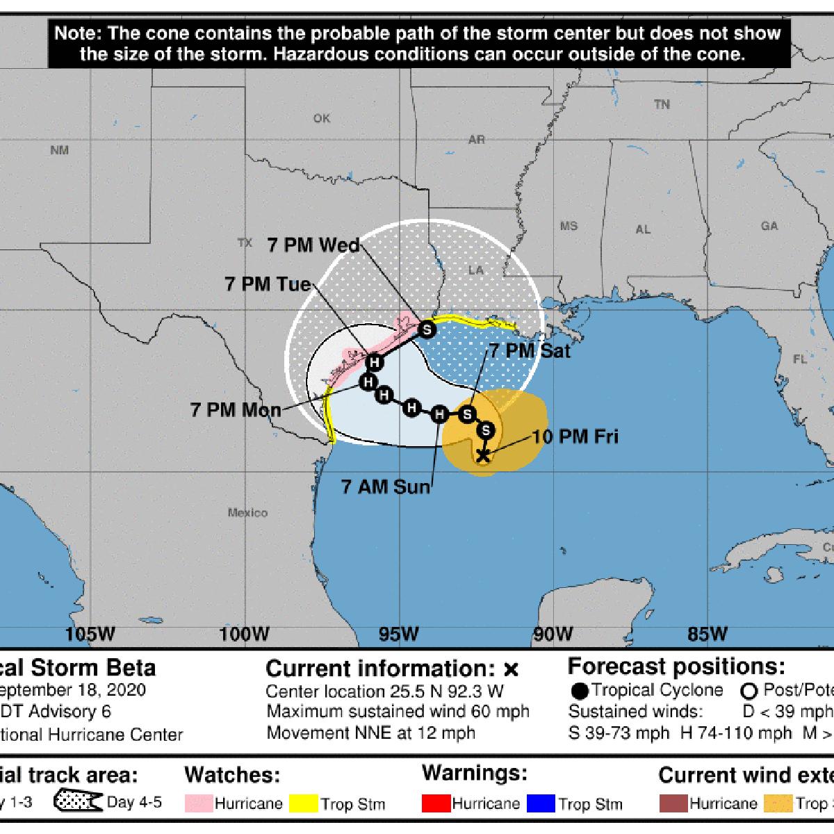 4 Louisiana Parishes Under Tropical Storm Watch Ahead Of Beta See Latest Track Hurricane Center Nola Com
