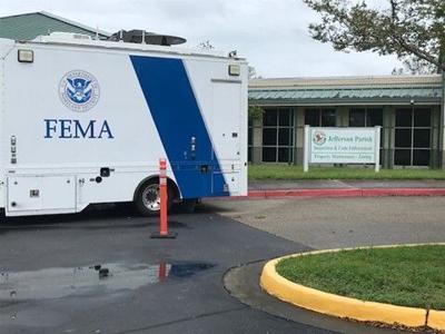 FEMA vehicle outside Jefferson Parish health facility
