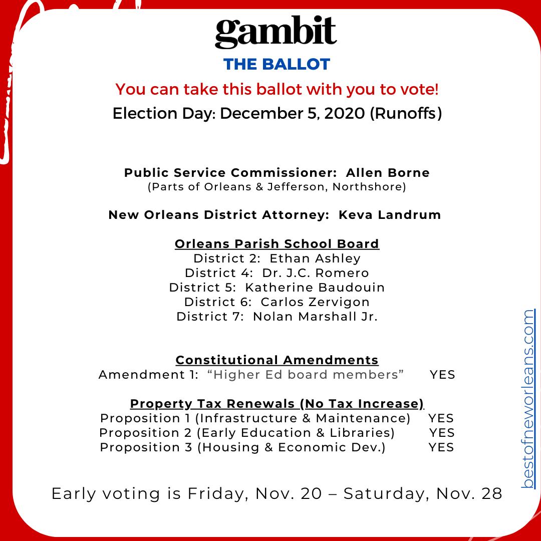 Gambit Dec. 5 ballot