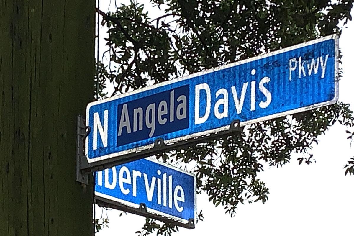 N. Jeff Davis Parkway street sign altered to honor civil rights activist Angela Davis