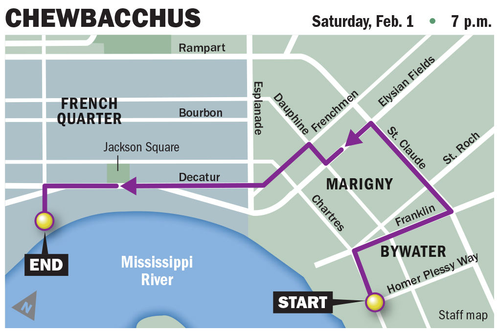 Chewbacchus parade route for Feb. 1, 2020