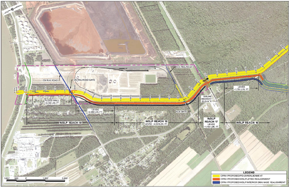 Proposed alignment of Maurepas diversion and West Shore Lake Pontchartrain levee