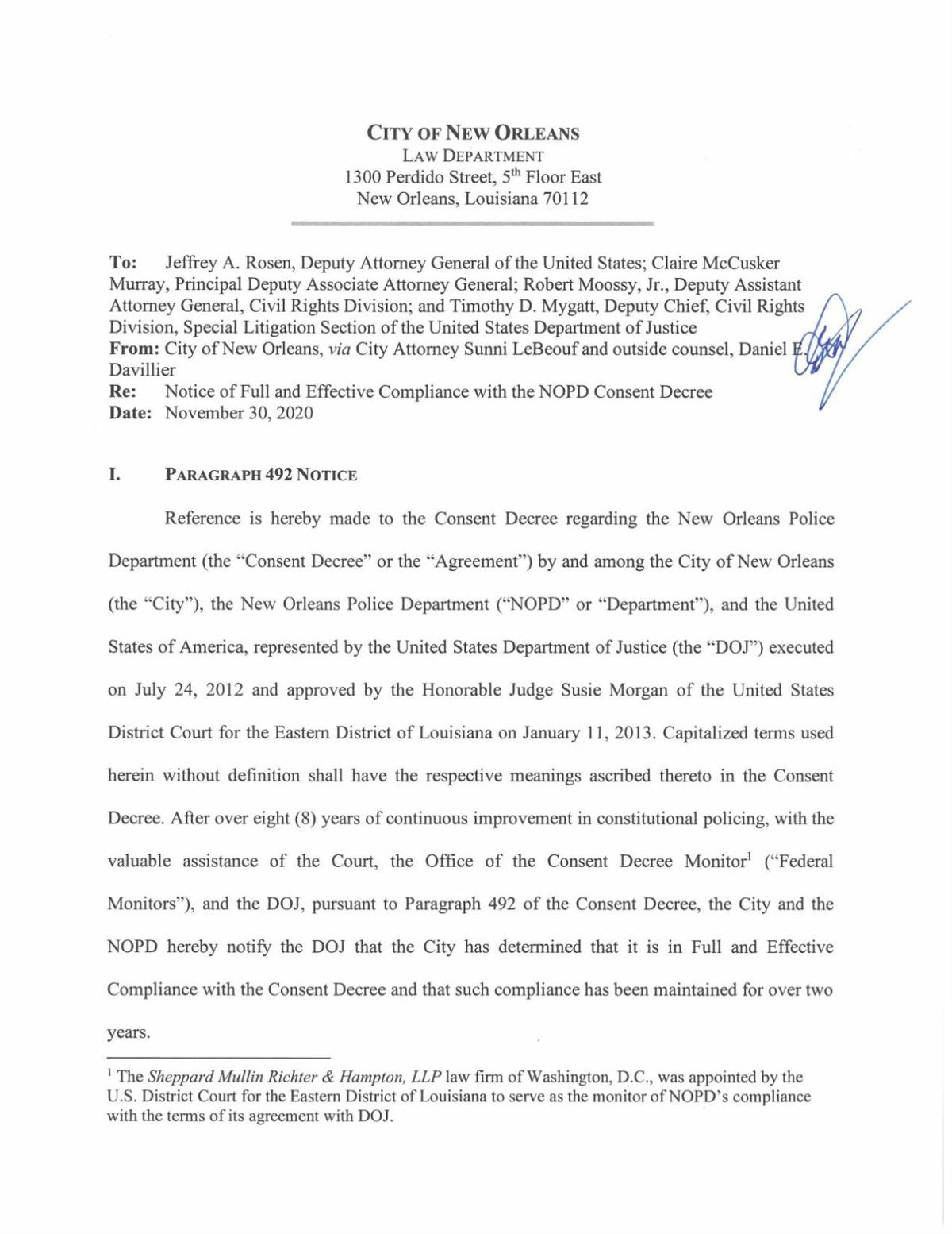 New Orleans consent decree notice