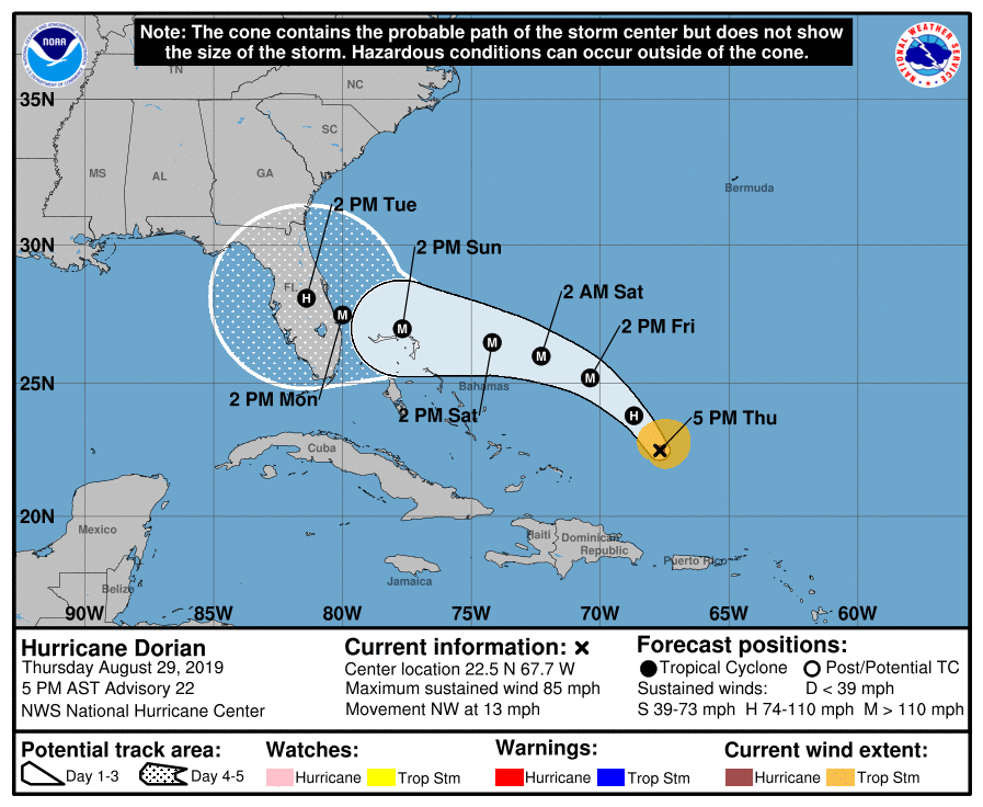 photograph regarding Hurricane Tracking Map Printable titled Hurricane Dorian heads for Florida, essential toward be Group