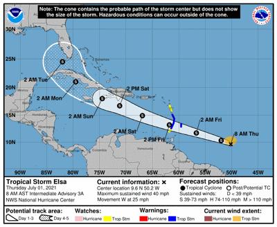 Tropical Storm Elsa track 7am July 1
