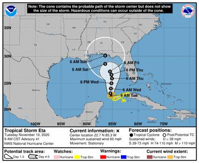 Tropical Storm Eta 9am Tuesday track