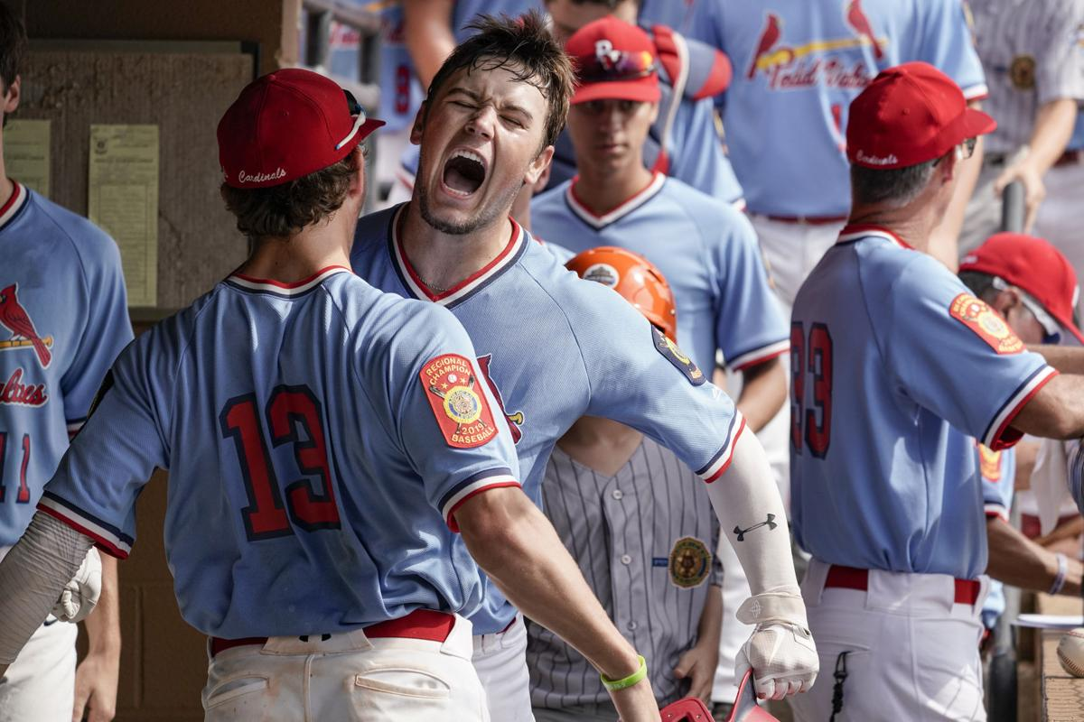 Kolby Bourgeois of the Pedal Valves Cardinals celebrates second-inning homer vs. Danville, Ill., Post 210 in American Legion World Series