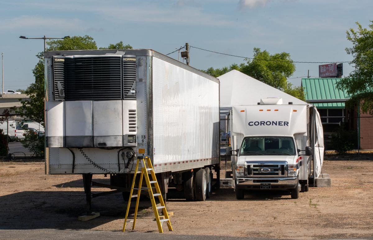 Coronavirus file photo stock of refrigerator truck morgues in Harvey