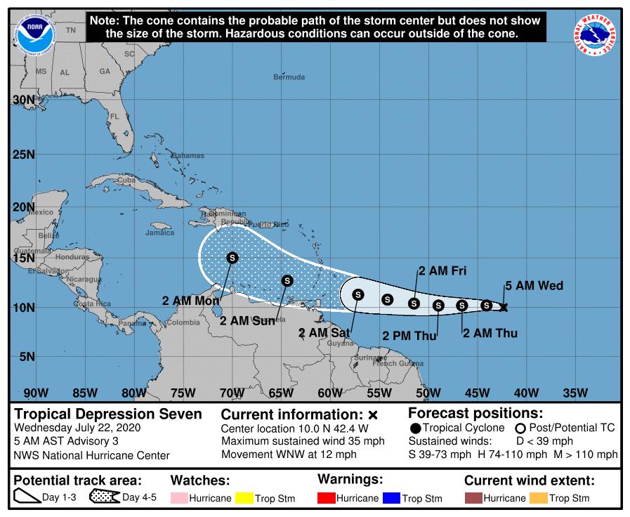 Tropical depression 7 track 4am