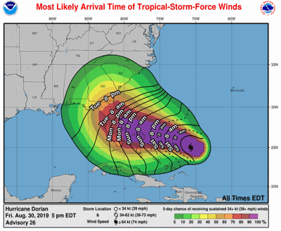 When tropical-storm-force winds accompanying Dorian will arrive