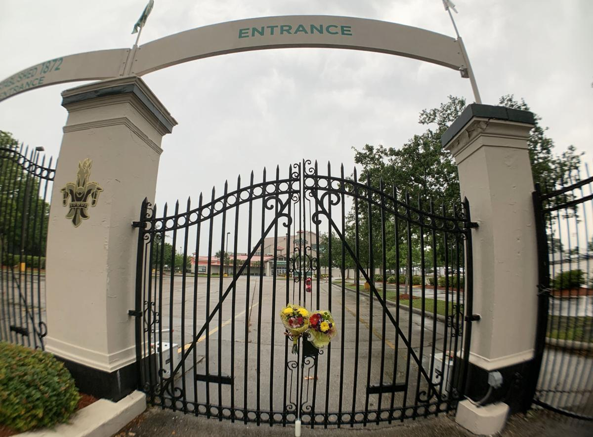 The Gentilly Boulevard entrance to the Fair Grounds was a forlorn sight on what would have been the first day of the 2020 Jazz Fest