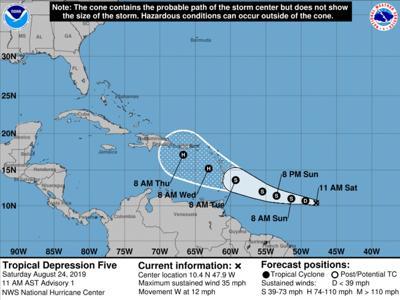 Tropical Depression Five, Aug. 24, 2019