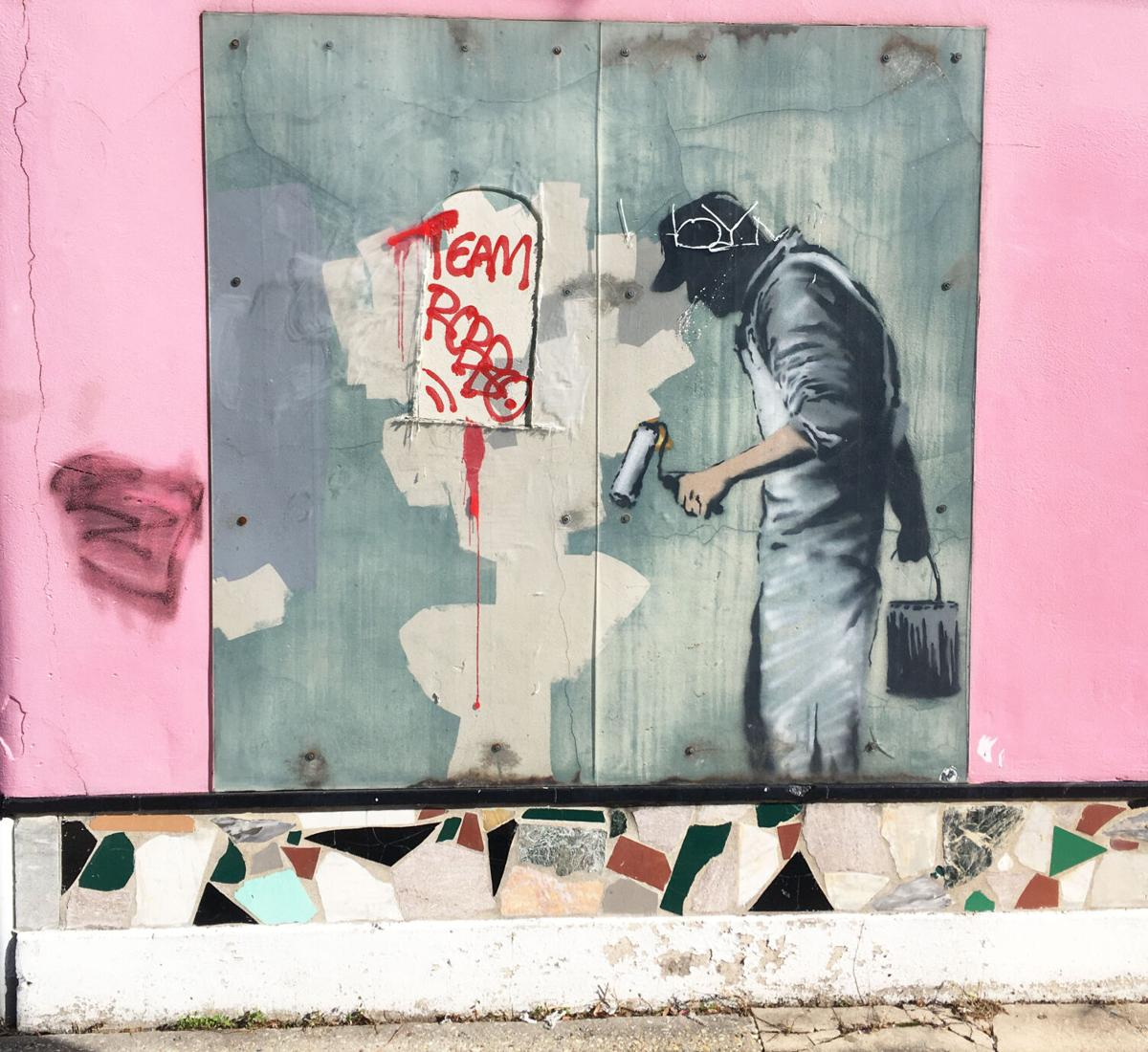Rare New Orleans Banksy painting tagged .jpg