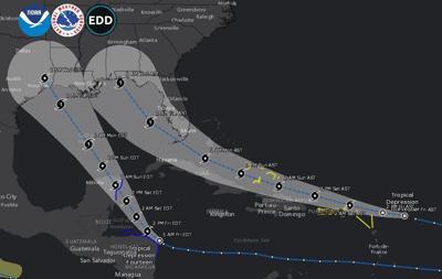 Hurricane paths 4 am Friday