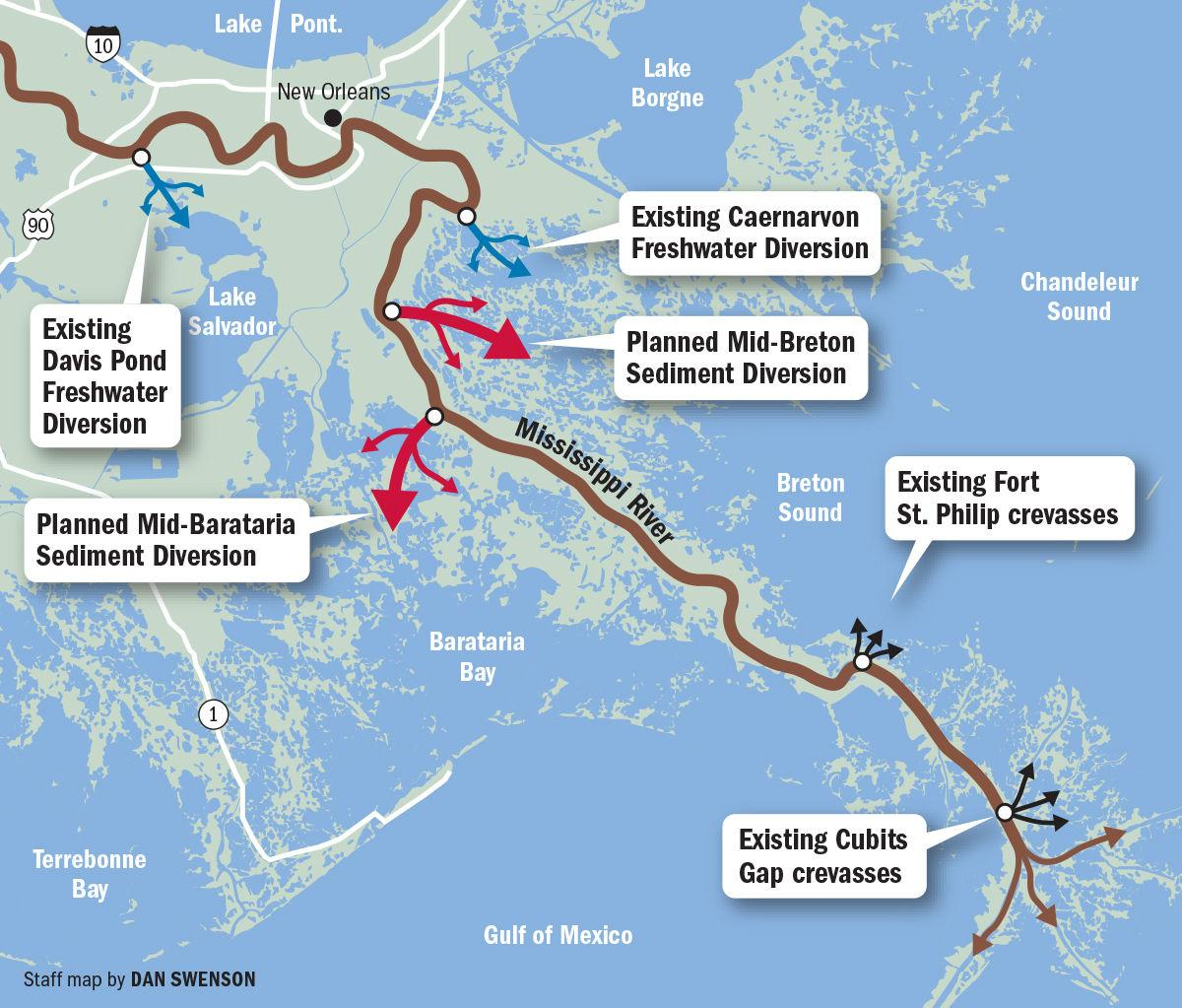 Louisiana Mississippi River diversions and crevasses map