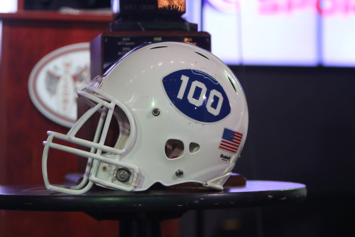 Jesuit football helmet for 100th meeting versus Holy Cross