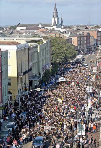 How big were New Orleans' Super Bowl protest parties? Let us show you