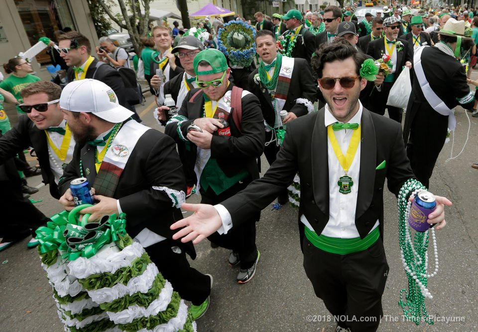 Irish Channel parade flows slowly down Magazine on St  Patrick's Day
