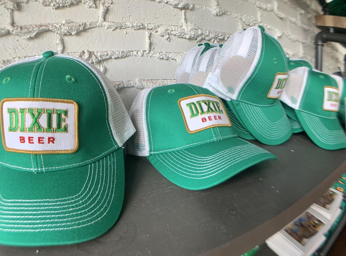 Dixie beer baseball caps advertise the historic brand name that will soon be changed